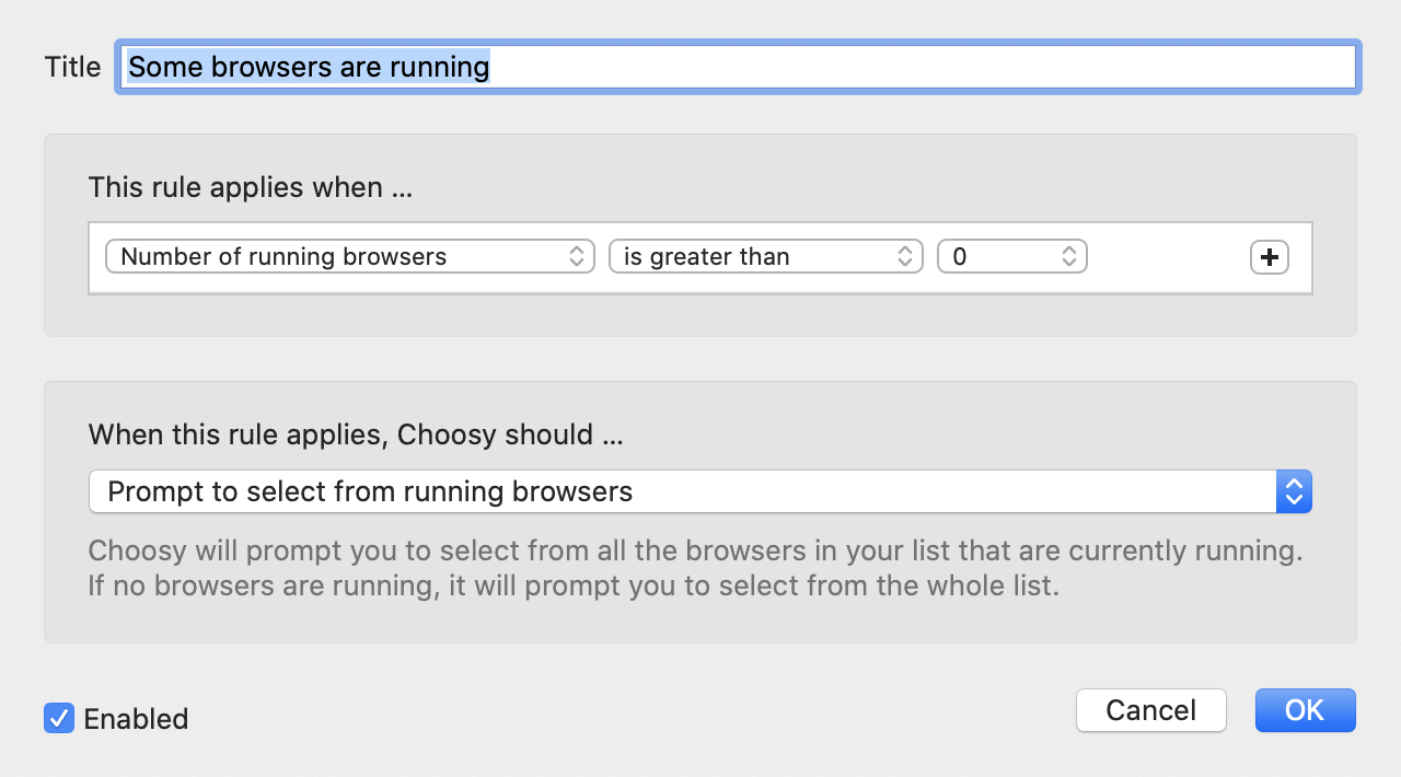 A screenshot of Choosy's rule editor, showing one of the default rules