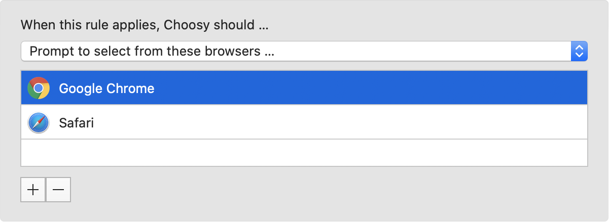 "A screenshot of Choosy's ""prompt to select from these browsers"" interface"